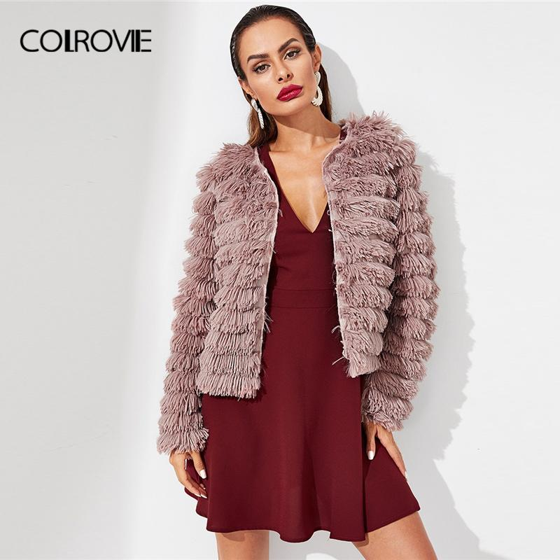 e12a9384c COLROVIE Pink Solid Layered Fringe Korean Cardigan Winter Faux Fur ...