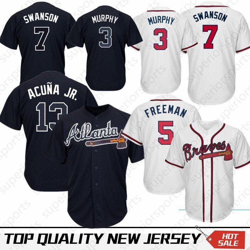 bea20dadc 2019 13 Ronald Acuna Jr. Atlanta Braves 10 Chipper Jones 44 Hank Aaron 5  Freddie Freeman 3 Dale Murphy Baseball Jersey 100% Stitched Top Quality  From ...