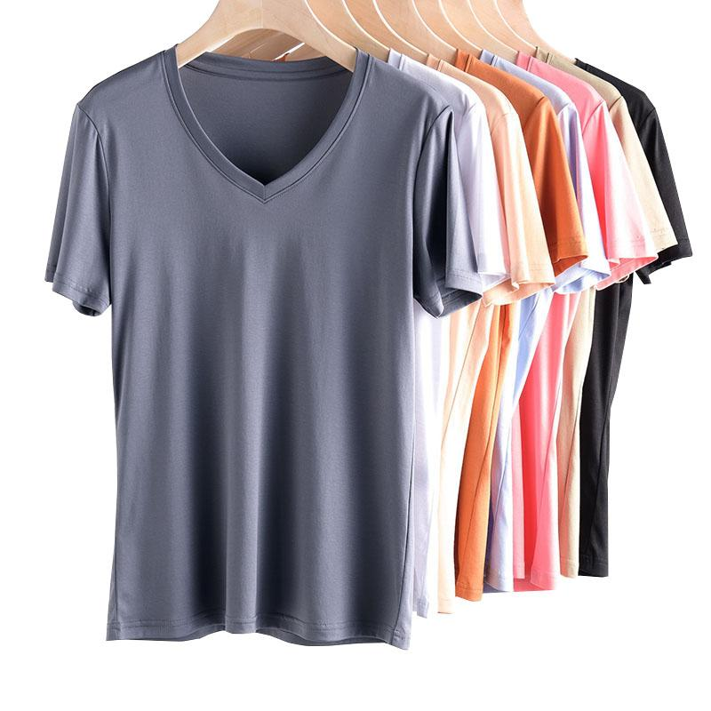 100% Cotton KENVY Brand Fashion Women's High-end Luxury Spring Slim V-neck Short-sleeved T-shirt Top Tees