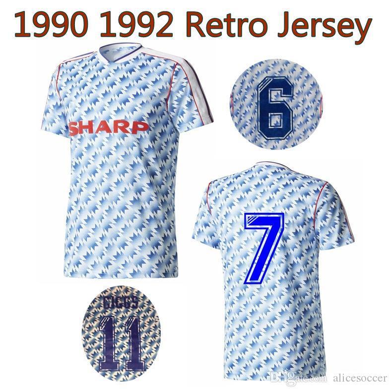 newest 6df4a 9c621 MANCHESTER retro soccer jerseys 1990 1992 Robson Hughes McClair UNITED away  FOOTBALL SHIRT 90 92 Vintage MAN UTD Camiseta Sharpe Paul Ince