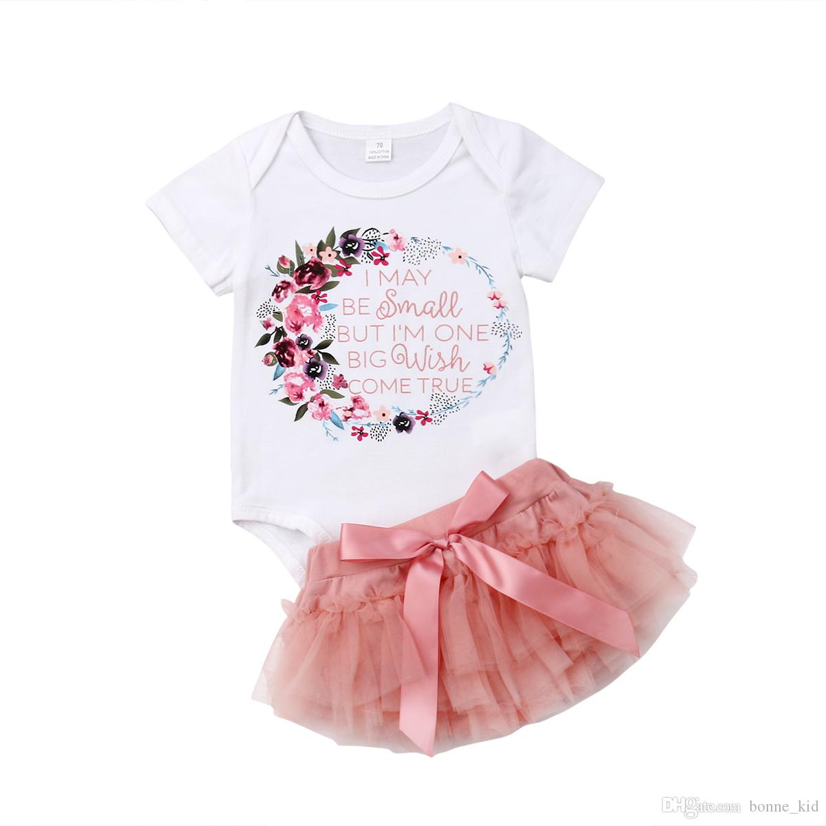 52916e590bc 2019 Newborn Baby Girls Letter Print Floral Romper Pink Tutu Shorts Set  Flower Bowknot Summer Baby Girl Clothing Boutique Clothes 0 18M From  Bonne kid