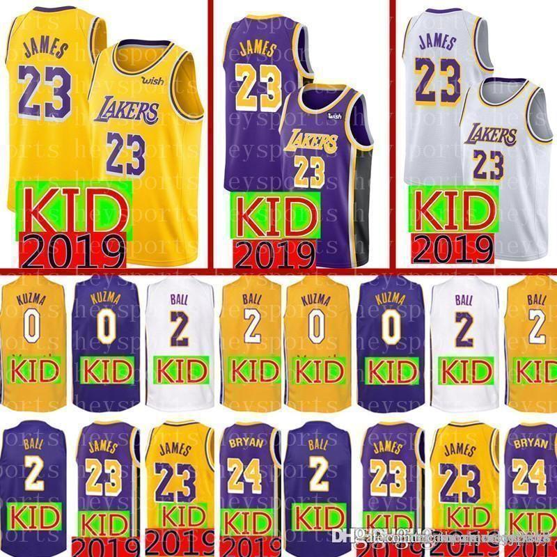 e7cb829cbaec 2019 2019 KID 23 LeBron James 24 Kobe   Bryant Jersey New Youth 2 Lonzo    Ball 0 Kyle   Kuzma Basketball Jerseys From Topmensjersey2018
