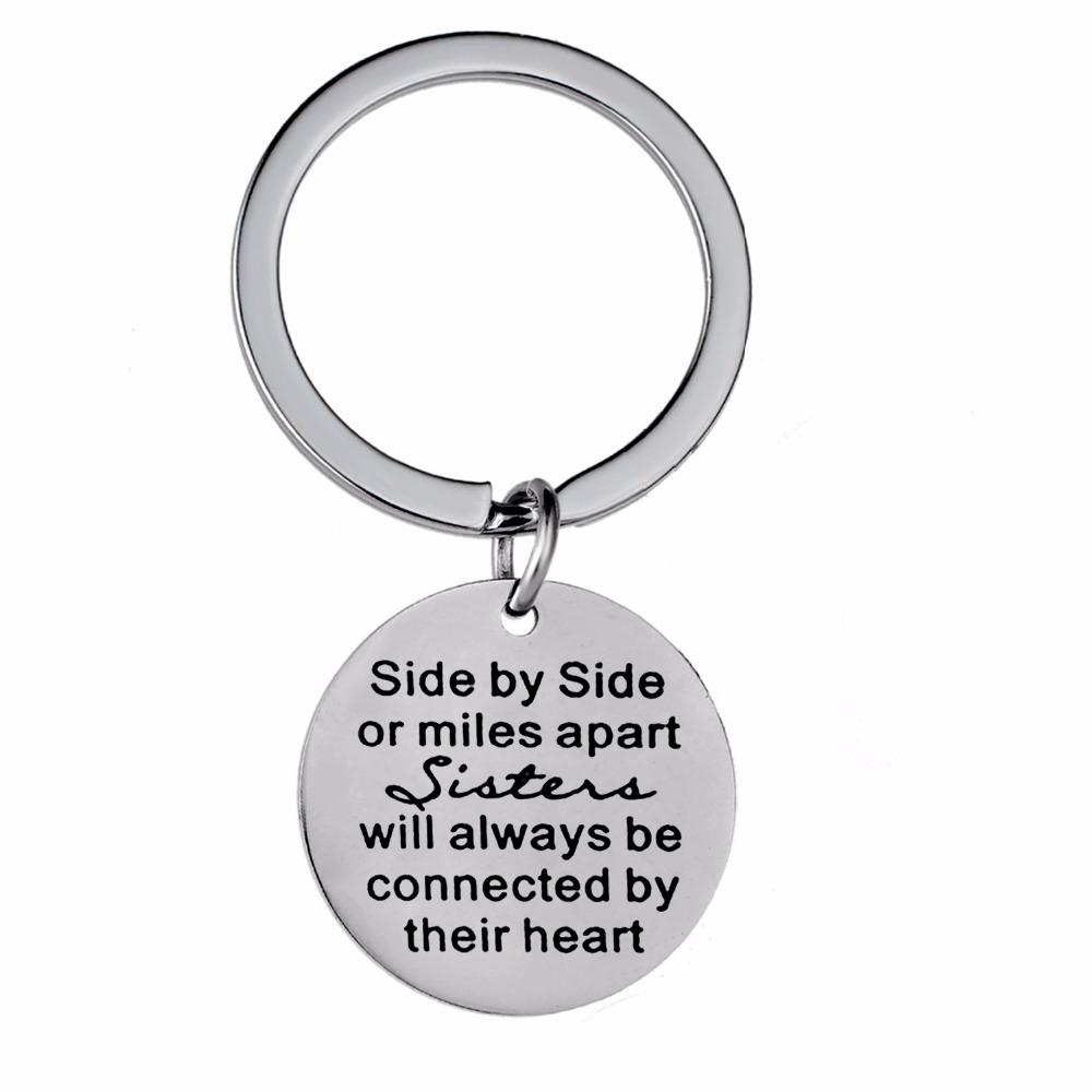 12PC/Lot Side By Side Or Miles Apart Sisters Keychain BFF Best Friends Gift  Stainless Steel Keyring Friendship Jewelry Key Chain