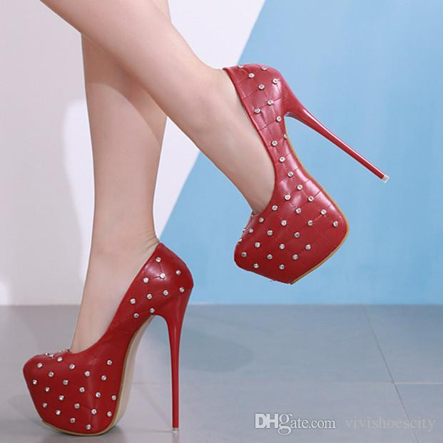 16cm Nightclub dance shoes red rivets rhinestone grid design ultra high heels platform pumps Ivory size 34 to 40