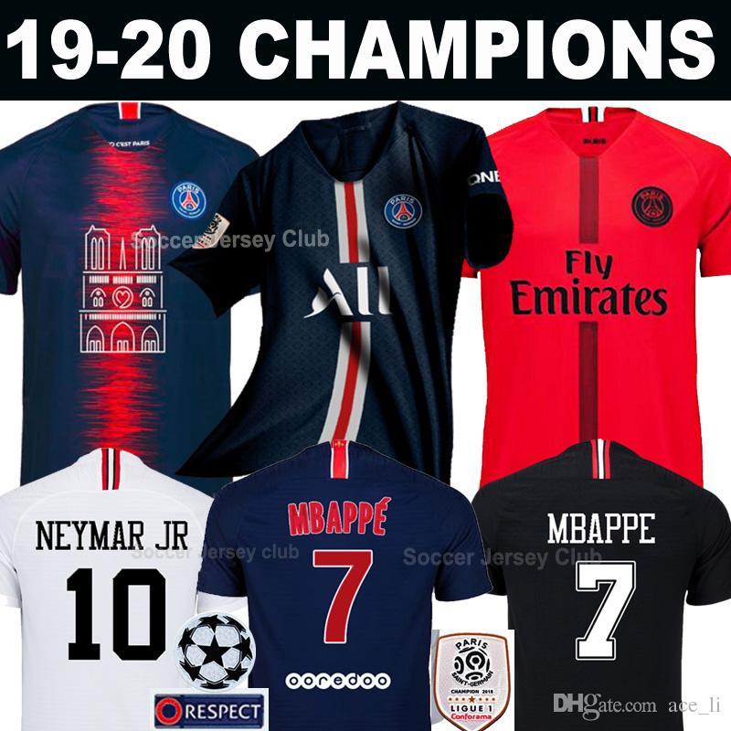 66a422263f619 Acheter 18 19 20 PSG Maillot De Foot PARIS SAINT GERMAIN MBAPPE AIR JORDAN 3RD  Third Champions 2019 2020 NEYMAR JR Football Shirt CAVANI DI MARIA DANI  ALVES ...