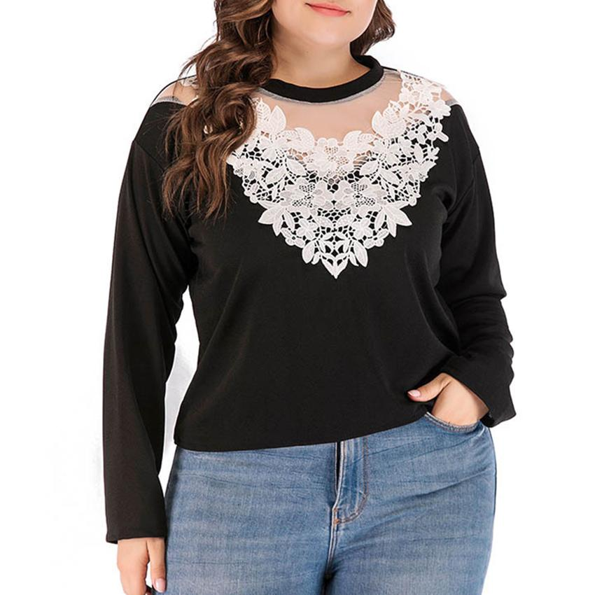 f5e5f697e12 Women Plus Size Clothing Sexy Vintage Lace Collar Top Tee Long Sleeve Solid  Casual T Shirt Ladies Deep V Neck Tshirt Tees Interesting T Shirts T Shirt  Buy ...