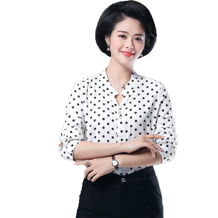 2019 Waeolsa Woman Smart Casual Shirt V Neck Top Stripe Polka Dot