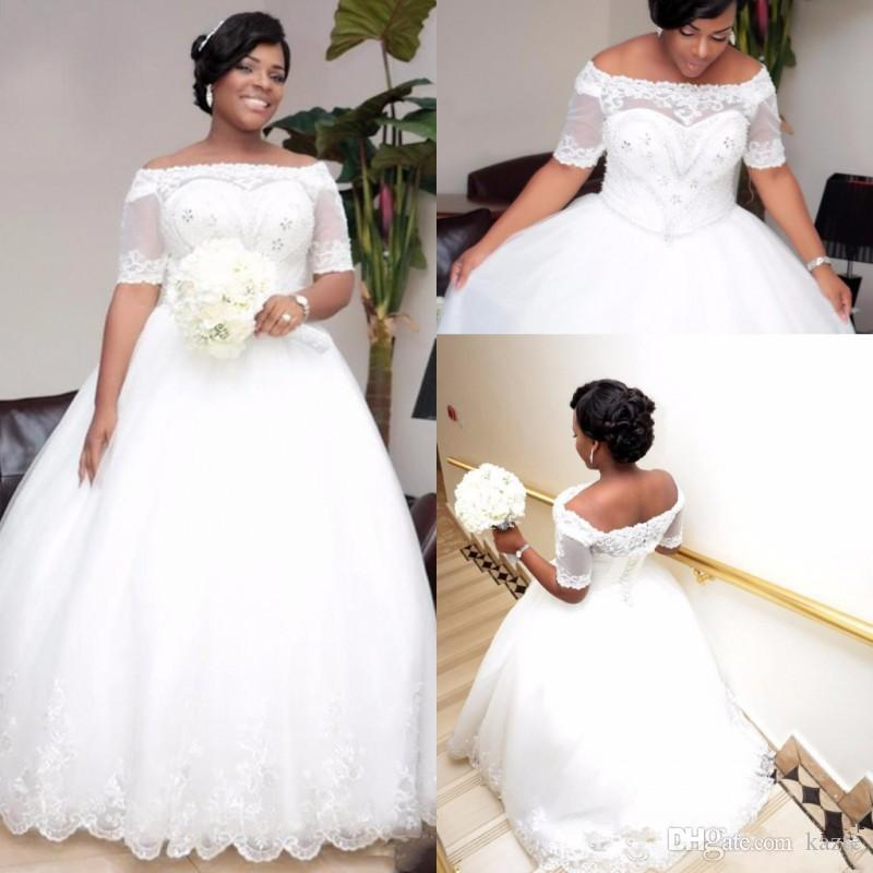African Plus Size White Ivory 2019 Ball Gown Bridal Gowns Wedding Dresses With Short Sleeves Boat Neck Beaded Crystals Wedding Dress