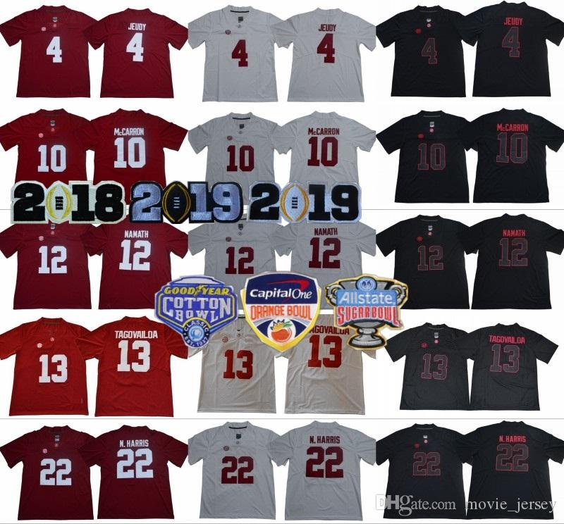 huge discount 0da86 e2610 2019 Finals Alabama Crimson Tide College 4 Jerry Jeudy Jersey 12 Joe Namath  10 AJ McCarron 22 Najee Harris 34Damien Harris Orange Bowl Black
