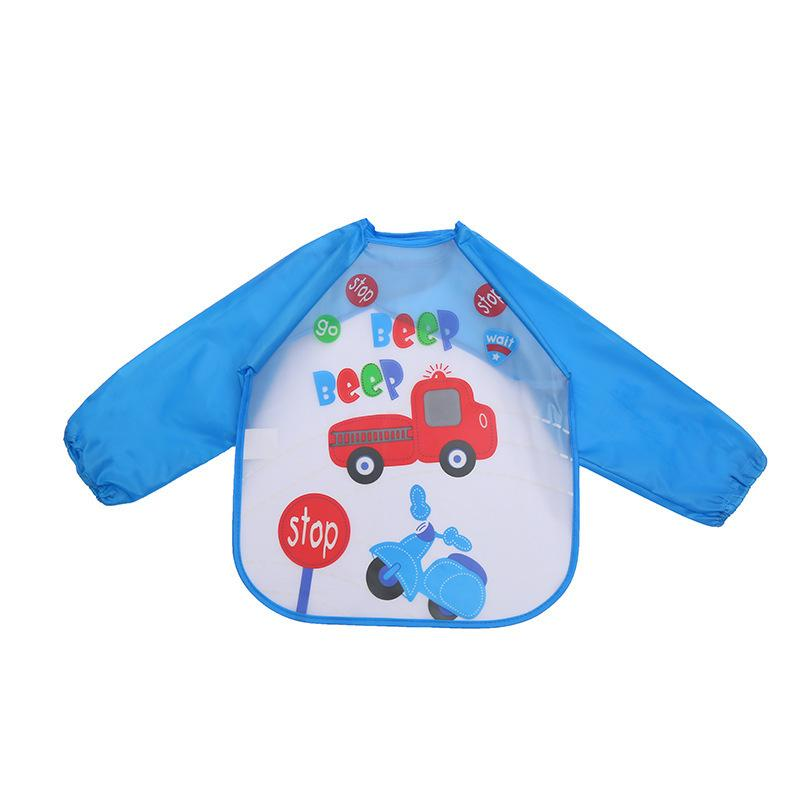 Waterproof Sleeve Bib Plastic Apron Baby Kids Smock For Painting Eating Children Boys Girls Silicone Bib Burp Cloth Wholesale