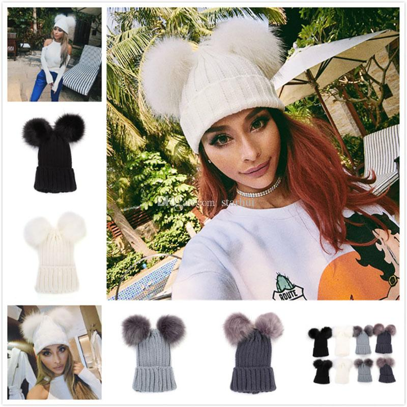 11114b040b2 Christmas Knitting Warm Hats With Double Fur Ball Pop Winter Beanie Hats  Mom And Baby Family Matching Outfit Newborn Kids Warm Caps WX9 1127 Best  Wedding ...