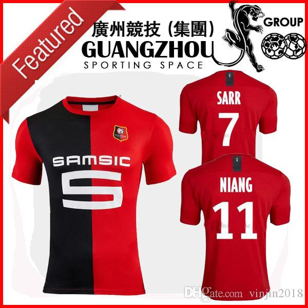 b3ed80604f2 2019 Stade Rennais 19 20 SOCCER JERSEYS HOME RED BLACK HONOU STRIPE SARR 7  NIANG 11 BOURIGEAUD 14 ANDRE 21 2019 JERSEY AWAY FOOTBALL SHIRTS From  Vinjin2018