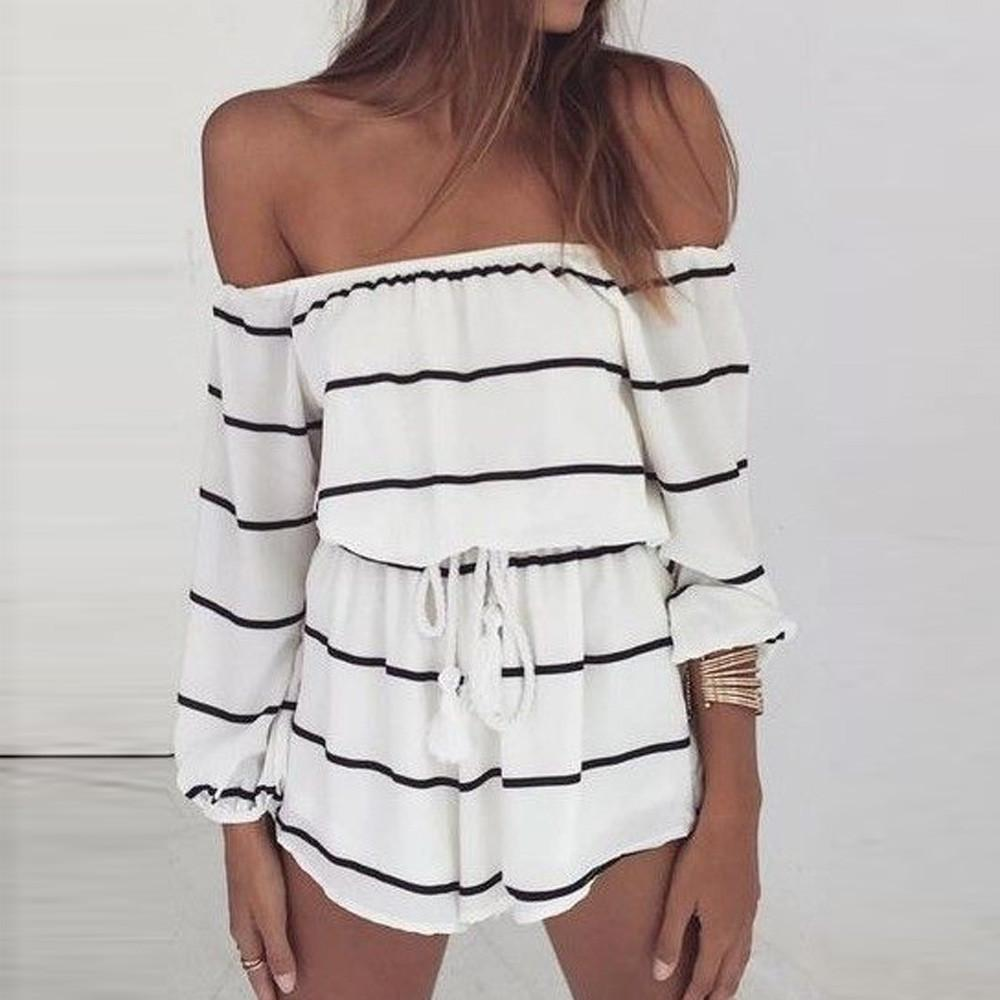 Summer Striped Print Elastic Waist Short Jumpsuit Women three quarter Boot Cut Boho Off Shoulder Fashion Sexy Romper #SYS