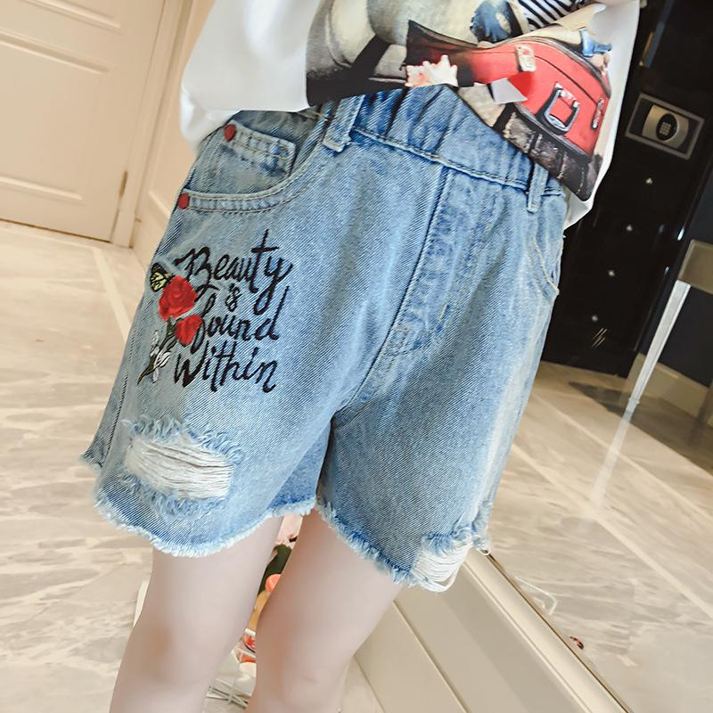 c6a98e30b0 2019 Summer Denim Shorts For Teenage Girls Clothes Big Girls Embroidery  Denim Shorts Gril Pants Clothes Red Baby Jeans Baby Boy Designer Jeans From  ...