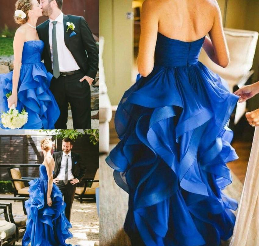 Cheap Royal Blue Wedding Dress Ultimi A Line senza spalline Country Garden Chiesa formale sposa abito da sposa su misura Plus Size