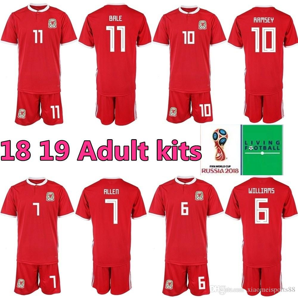 ed71d6875 2019 2018 2019 Welsh Soccer Jersey Football Shirt Uniform Kits Foot Tshirt  11 Gareth Bale 11 Ryan Giggs 10 Aaron Ramsey 9 VOKES Custom From  Xiaomeisports88