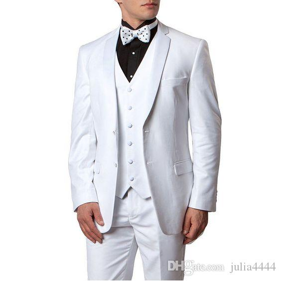 8b4920f5b09c 2019 Spring Summer White Men Suits Wedding Groom Tuxedos 3 Pieces 2 Buttons  Groomsmen Suit (Jacket+Vest+Pants) Beach Wedding Suit