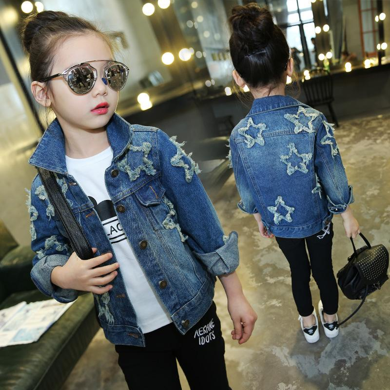 e275cb0efc707 Star Patch Teenage Girls Denim Jackets Kids Girls Outerwear Coat 2018 New  Spring Fall Fashion Girls Jeans Jacket Children Outfit Best Jackets For Kids  Boys ...
