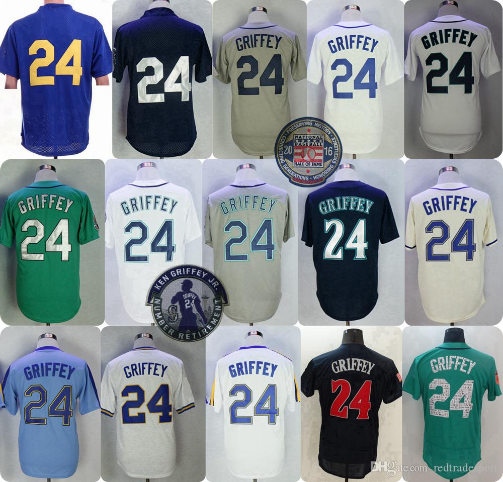 size 40 233b7 a517b Vintage Ken Griffey Jr Jr. Jersey 2016 Hall Of Fame Seattle Cincinnati 24  30 Jerseys Teal Green 1995 1997 Home Away Jerseys