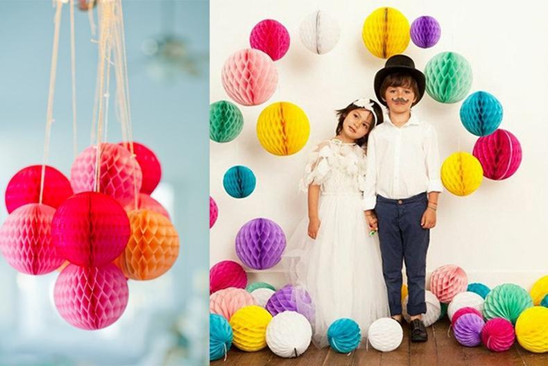 8 inch 20cm Black White Tiffany Blue Tissue Paper Honeycomb Balls Birthday Baby Shower Wedding Holiday Party Decorations