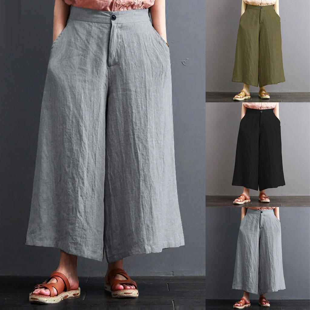 Women's Clothing Professional Sale Women Casual Wide Leg Trousers Solid Elastic High Waist Chiffon Ankle-length Loose Pants Fashion Hot Bottoms