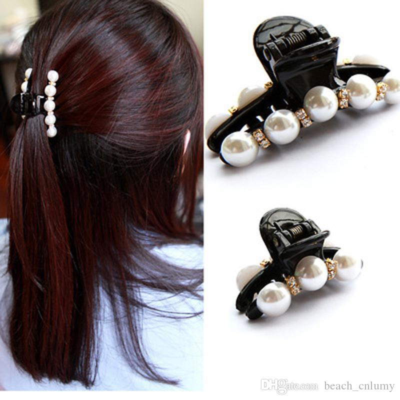 Black Hair Claw Clip Crystal Pearl Plastics Hair Clips Barrettes For Women/Baby Rhinestone Hairpin Hairgrip Hair Styling Jewelry Accessories