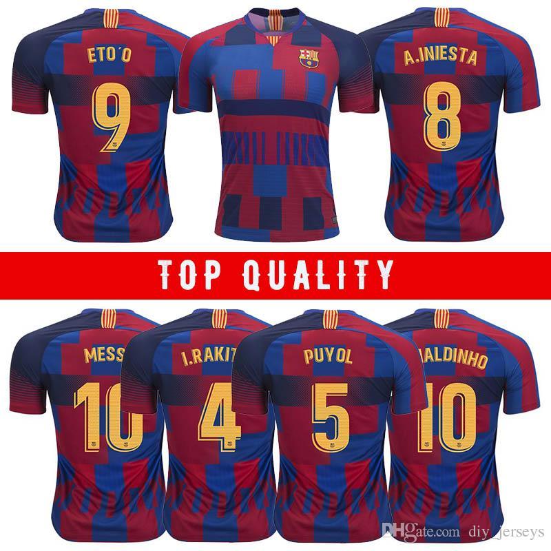 2019 Top Maillot 8 A. Maillot de football pour maillot de foot extérieur INIESTA 9 ETO O 10 MESSI 5 PUYOL 4 RAKITIC 10 RONALDINHO