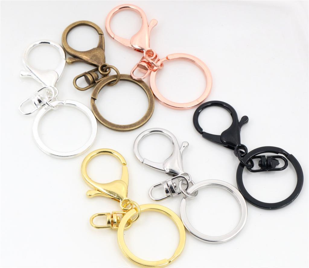 5pcs/lot 30mm Key Ring Long 70mm Popular classic 8 Colors Plated lobster  clasp key hook chain jewelry making for keychain C19011001