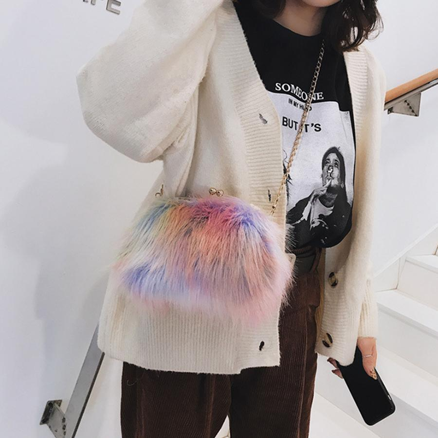 Luxury Faux Fur Crossbody Bags For Women Color Plush Chains Messenger Bags  Women Small Shell Bag Woman Shoulder Bags Girls Bolsa Discount Designer  Handbags ... 46cca2240155d
