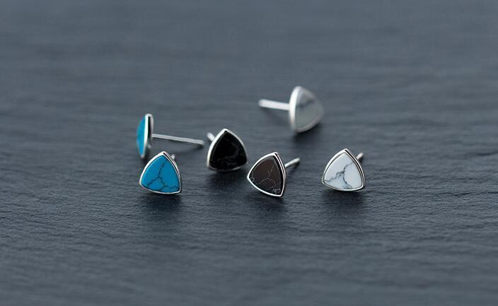 ff3af4691 925 Sterling Silver Black /White/Blue Turquoise Triangle Stud Earrings  Sterling Silver Jewelry Geometric 8MM GTLE1021 Y18110503 From Zhengrui02,  ...