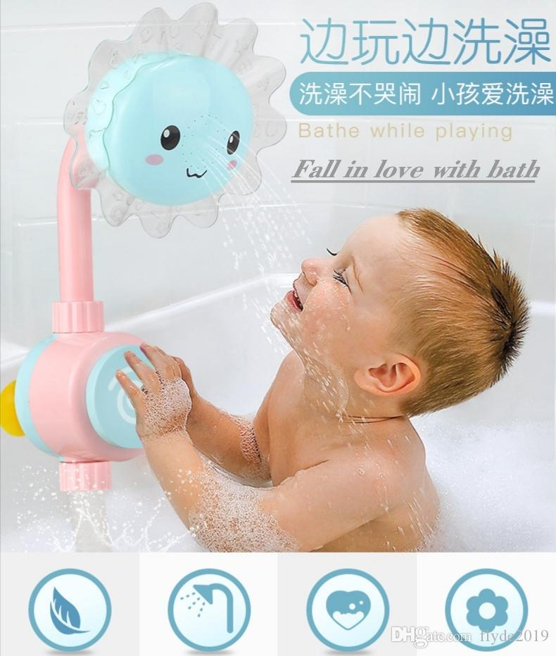 Baby Bath Toy Fun Sunflower Baby Infantil Shower Faucet Spout Baby Bath Spout Babies Play Swimming Bathroom Toys Summer Bathing
