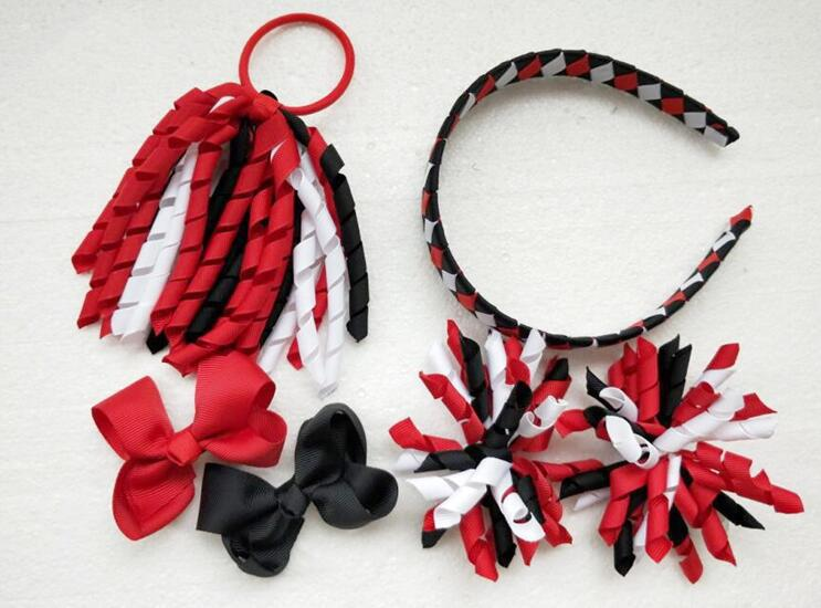 Curly ribbon korker Ponytail holders streamers woven headbands hair bows clips ties flowers corker hair bobbles Accessories