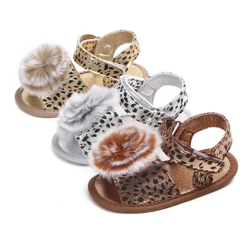 Fashion baby leopard buckle strap flower ball shoes infant slipper shoes baby girl first prewalker