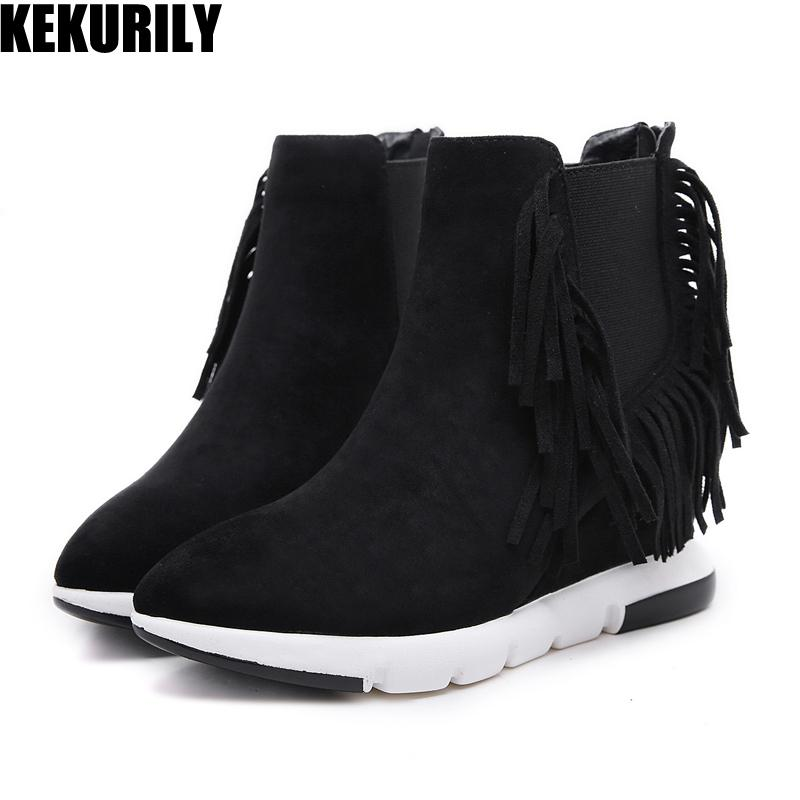 c4e8662b86a Winter Wedge Boots Women Shoes Fringe Ankle Boots Zipper Plush Warm Heels  Ladies Booties Pointed Toe Black Zapatos Mujer Boat Shoes For Women Desert  Boots ...