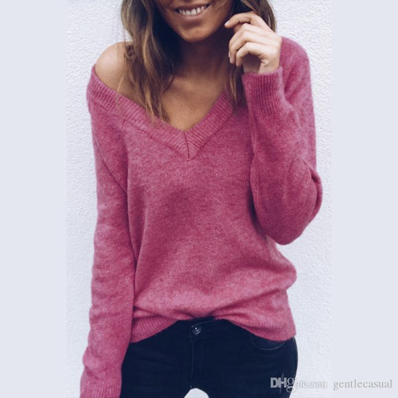 Deep v neck sexy sweater