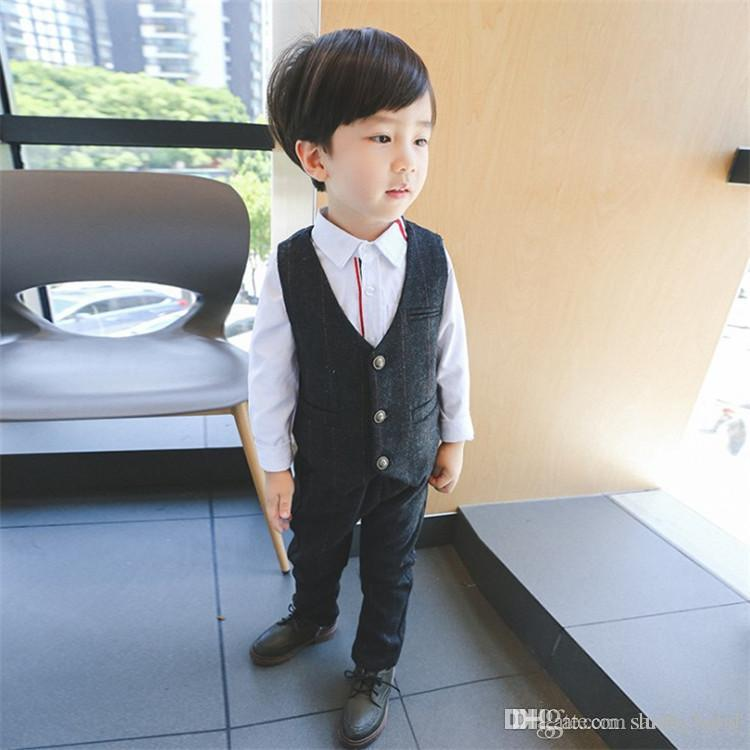 Spring Autumn New Children's Clothing Korean Fashion Boy's Costumes Trend Plaid Jacket Pants V-neck Two-piece Baby & Kids Clothing