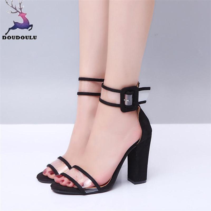 64afed3448b4 Vestido para mujer Damas Bloque Sandalias de tacón alto Verano Plataformas  de tobillo Hebilla Zapatos de tacón alto Mujer Zapatos Mujer Plus Tamaño ...