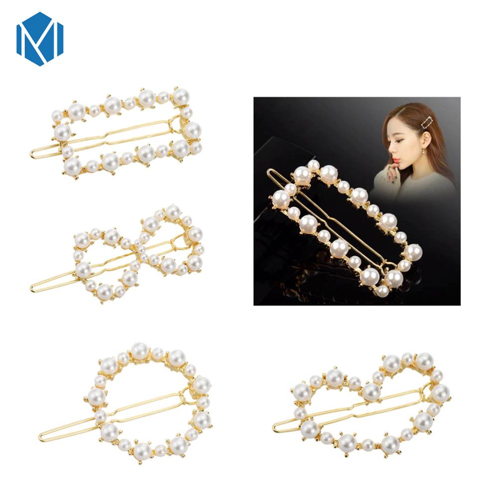 M MISM Pearls Hair Clips for Women Fashion Sweet Imitation Korean Style Hairpins Alloy BB Headmade Girls INS Hair Accessories
