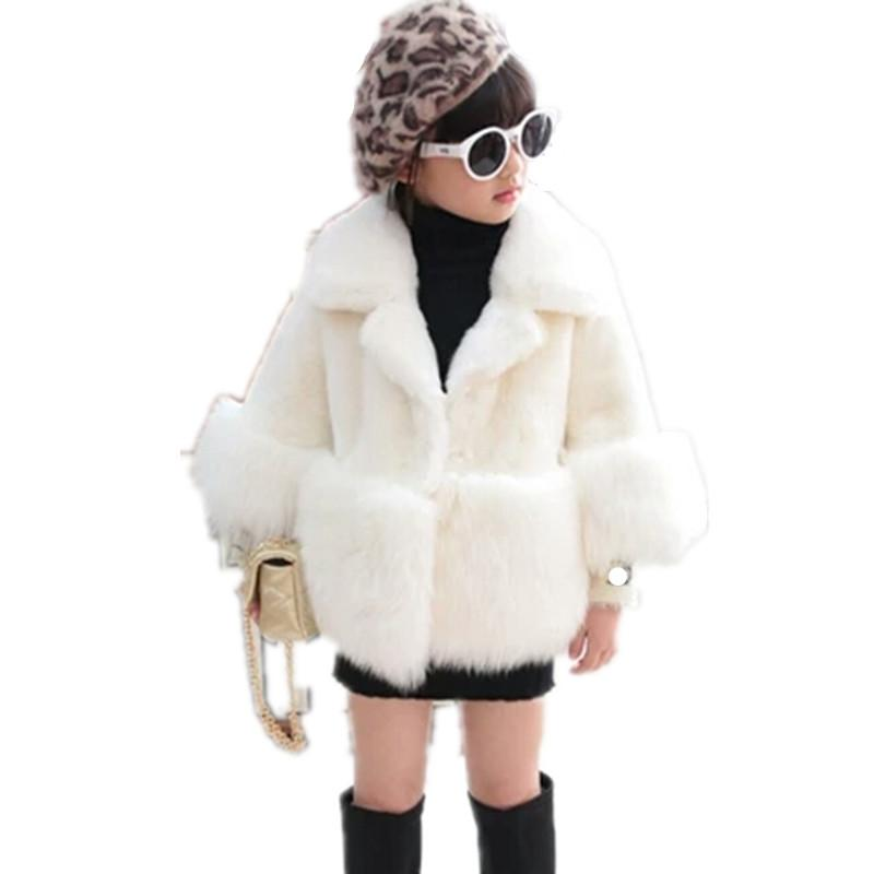 2019 Children Faux Fur Coat Baby Girl Autumn Winter Warm Short Thicker Clothing Long Sleeve Luxury Princess Outerwear N62