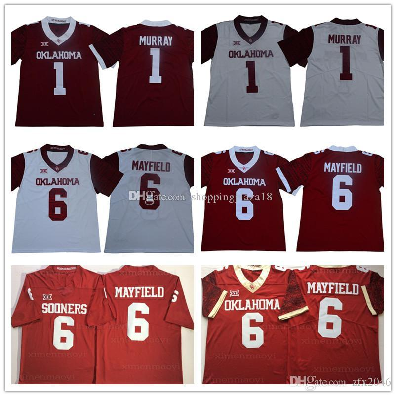 371f0fa1b87 2019 Men'S NCAA College Oklahoma Sooners 6 Baker Mayfield 1 Kyler Murray  Jersey White Red Limited Football Jerseys Embroidered Stitched Logo From  Zfx2046, ...