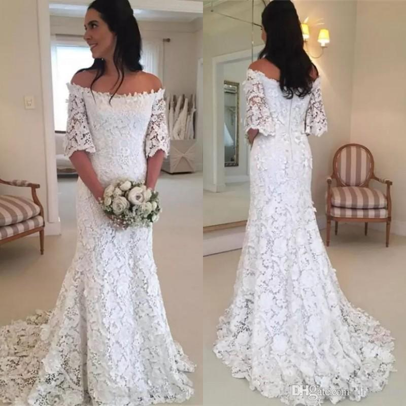 91ae702abee Discount Spring 2019 Country Boho Wedding Dresses Beach Bateau Neckline  Half Length Bell Sleeves Fit And Flare Court Train Bohemian Lace Birdal  Gowns ...