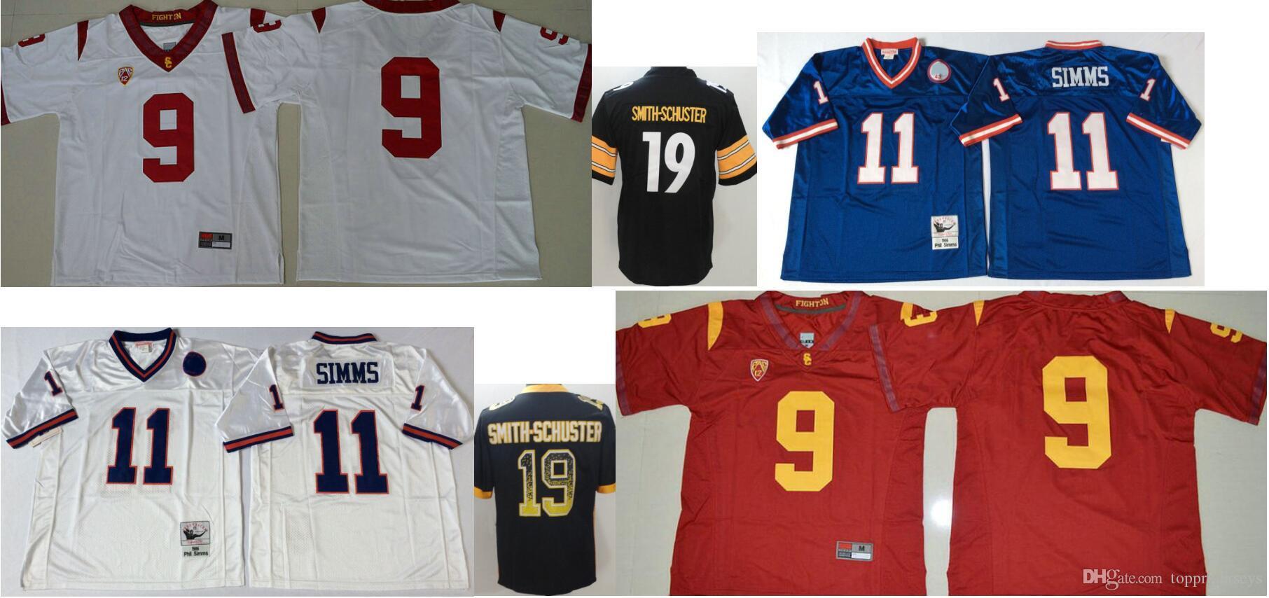 huge discount 7818b 8b7e2 USC Trojans #9 JuJu Smith-Schuster #19 Pittsburgh Mens Vintage College 11  Phil Simms Color Rush Salute American Football Team Jerseys Cheap