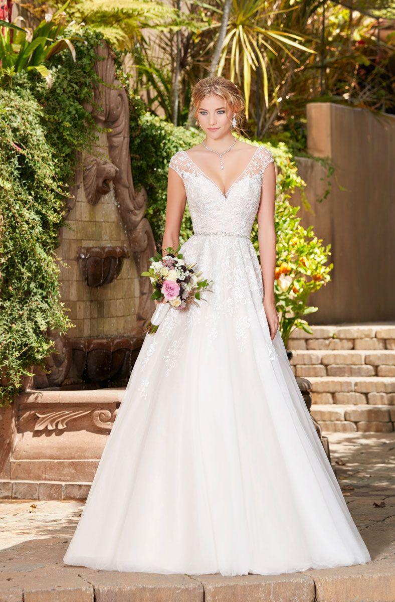 9d761269fdfd Discount A Line Lace Wedding Dresses V Neckline Cap Sleeve Applique Tulle Bridal  Gowns Sheer Strap Beaded Belt Formal Dress Weding Dresses Aline Dresses ...