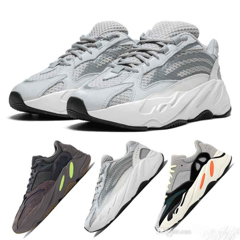 Wholesales 2019 Hot Brand New 700 V2 Static Reflective Running Shoes Mauve Kanye West Wave Runner Mens Womens Athletic Sport Sneakers
