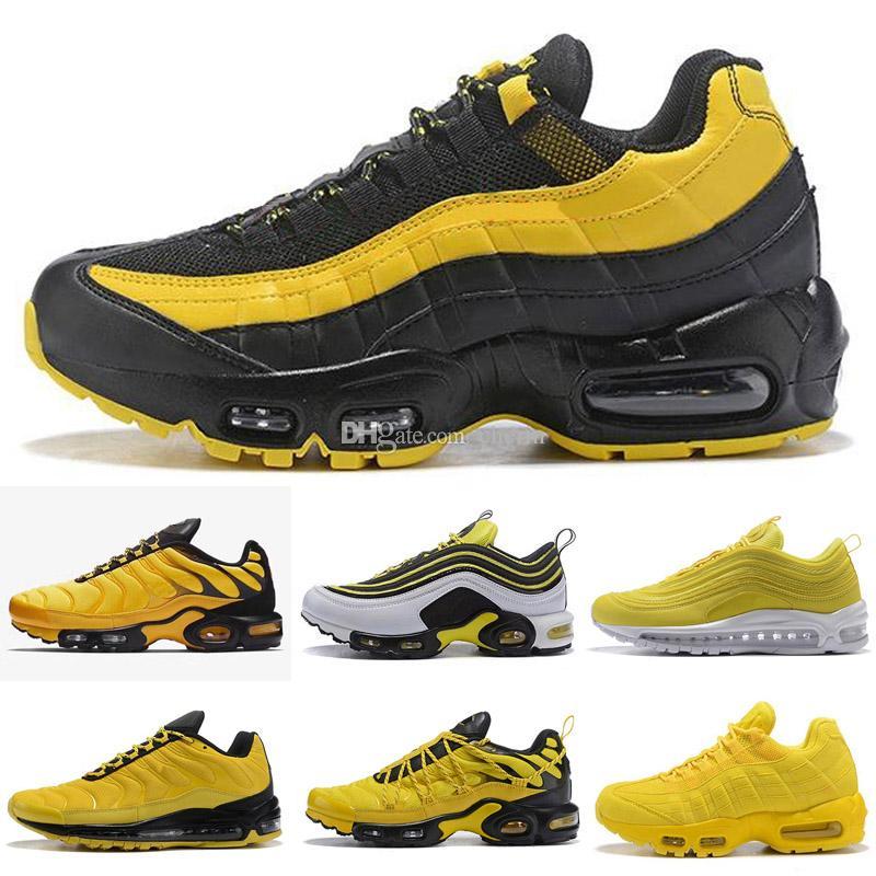 Compre 2018 Zapatillas Nuevas 97 95 TN Plus Paquete De Frecuencia Amarilla  Zapatillas Deportivas Chaussures Tns Air Hombre Mujer Zapatillas De Deporte  De ... 183af58aaad78