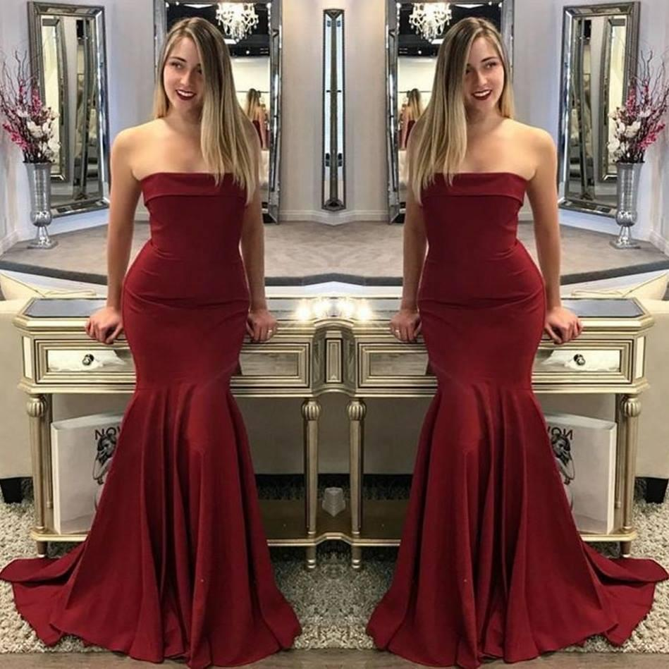 2018 Dark Red Sexy Strapless Mermaid Evening Dresses New Elegant Ruched Pleats Floor Length Prom Gowns Fashion Formal Party Wear