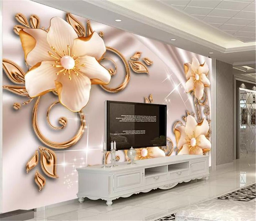 Custom Photo Wallpaper 3d Luxury Rich Jewelry Pearl Flower Open 3D Living Room TV Background Bound Wall Painting Wallpaper