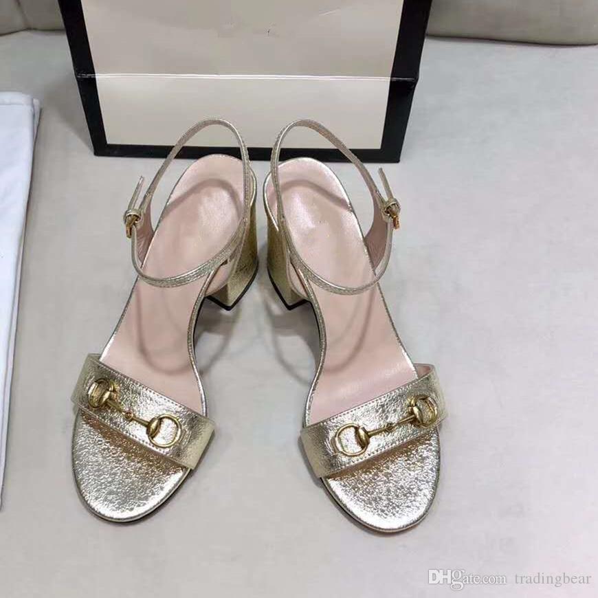 2020 Luxury high Heels Leather sandal gold heels 7cm women designer sandals summer size 34 to 41 tradingbear