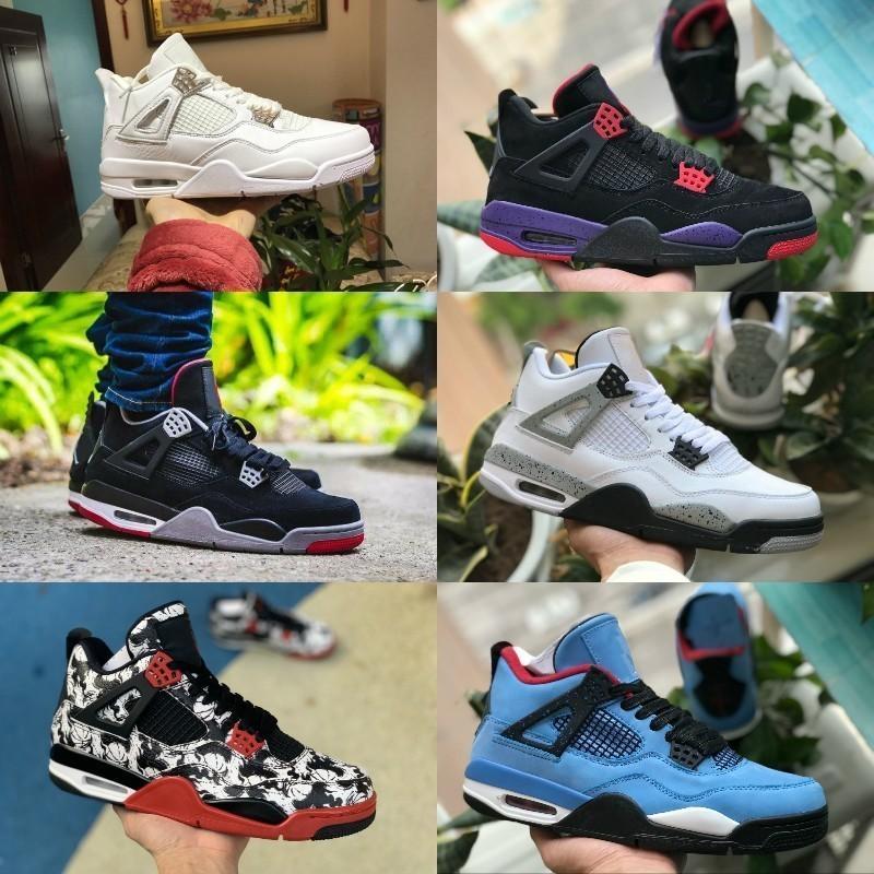 281712d0ec9 Compre Nike Air Jordan Retro 4 Shoes 2019 Jordans 4 Tattoo JACK Travis  Scotts 4s Zapatos De Baloncesto Houston Oiler White Cement Raptors KAWS Air  Hombre ...