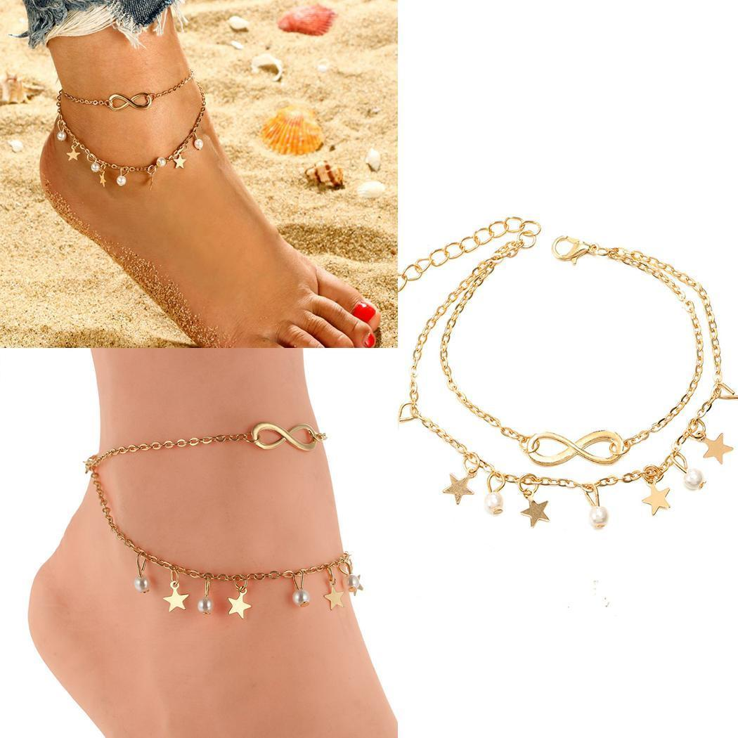 Fashion Women Fashion Star Sequins Pearl Pendant Double-layer Charm Anklet Fashion New Women Anklet